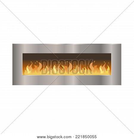 Classic fireplace made of natural stone and gypsum, with a metal oven, with a bright burning flame. Comfortable, cozy, warm, home fireplace. Warm winter interior bonfire. Vector illustration isolated.