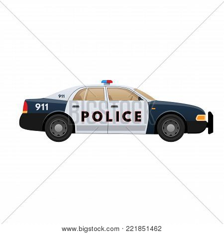 Police car isolated on light background. Patrol car, vehicle with emergency lights system and signal sirens. Side view. Vector illustration in flat style.