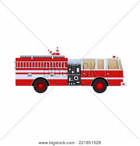 Fire Department. Red truck with white stripes, eliminating fire and fire, help in putting out. The car is a fire truck. Side view. Vector illustration in flat style.