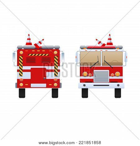 Fire Department. Red truck with white stripes, eliminating fire and fire, help in putting out. The car is a fire truck. Front and rear view. Vector illustration in flat style.