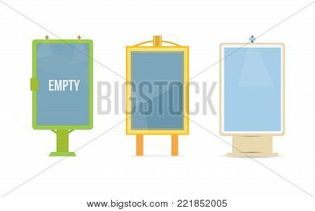 Colorful billboards, fashionable outdoor advertising. Beautiful shields, a place for advertising and posters. Posters, signs of retail trade, exhibition stand, marketplace. Vector illustration.