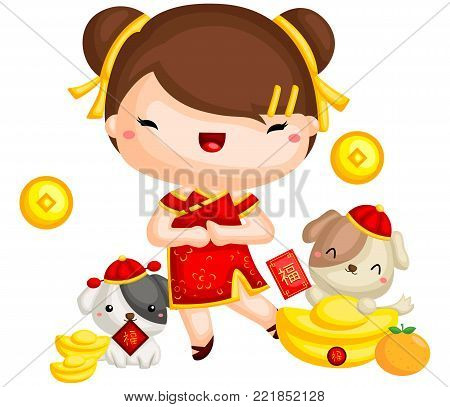 a girl celebrating chinese new year with her dog