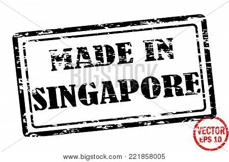 Made in Singapore - template of grunged black square stamp for business isolated on white background. Usable as rubber, banner, label, logo, icon or watermark for manufactured products etc.