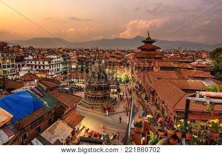 KATHMANDU, NEPAL - OCTOBER 19, 2015 : Sunset over  Patan Durbar Square in Nepal. Long exposure.