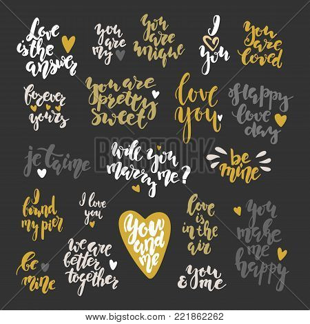 Valentine's day hand drawn lettering inspirational qoutes set. Stock vector