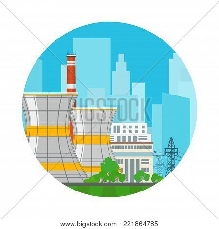 Icon Nuclear Power Plant on the Background of the City , Thermal Station, Electric Power Transmission from a Nuclear Plant,  Illustration