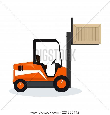 Orange Forklift Truck Isolated on White Background, Vehicle Forklift Lifted the Box Up,  Illustration