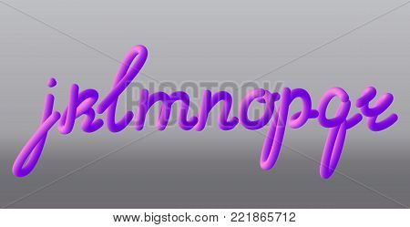 Set with letters j, k, l, m, n, o, p, q, r. Glossy pink paint letters. 3D render of bubble font with glint Typography vector illustration