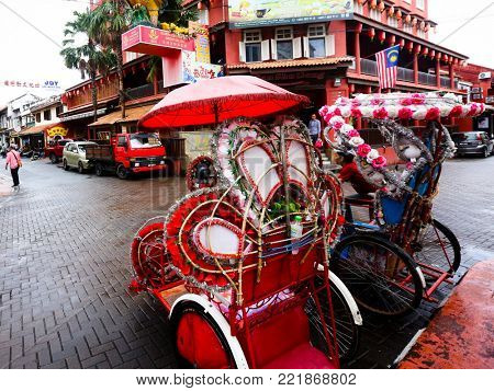 MALACCA MALAYSIA SEPTEMBER 20 2017: Colorful tricycles at Jonker Street in Malaysia's historic World Heritage City, Melaka