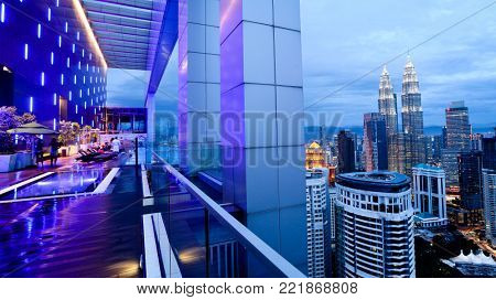 KUALA LUMPUR MALAYSIA SEPTEMBER 20 2017: The Petronas Twin Towers, taken from the pool deck at The Face Platinum Suites