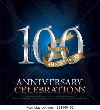 100th years anniversary celebration silver and gold logo with golden ribbon on dark blue background. vector illustrator