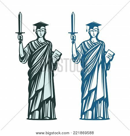 Judiciary, education symbol. Notary, justice, lawyer icon. Vector illustration isolated on white background