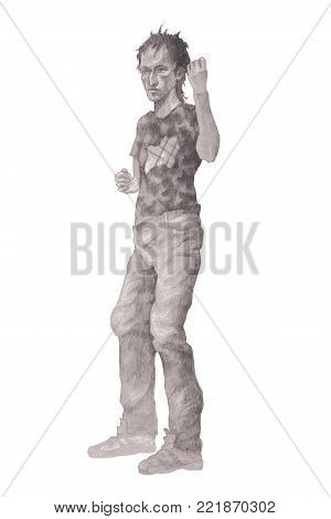 Young rowdy man, drawn in pencil against white background