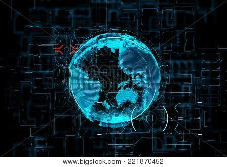 Tech planet Earth on black background. 3d rendering. 3d illustration. Futuristic hologram of the planet Earth on digital background data and the light fluxes