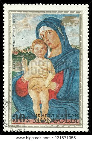 Mongolia - circa 1972: Stamp printed by Mongolia, Color edition on Art, shows Painting Madonna and Child by Bellini, circa 1972