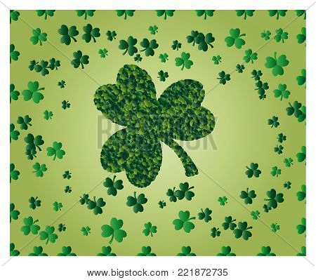 Greeting card of St. Patrick with sparkling green leaves of clover, and with green clover leaf consisting of circles