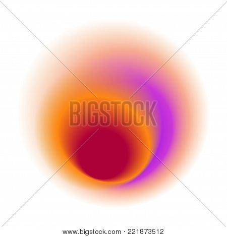 Red Radial Spot With Round Rose Colored Vector Texture. Purple Blurred Blot Pattern. Pink Gradient S