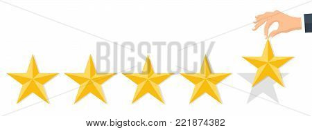 Customer rating, feedback, star rating, quality work. Businessman holding a gold star in hand, to give five. Evaluation system. Positive review. Flat vector illustration