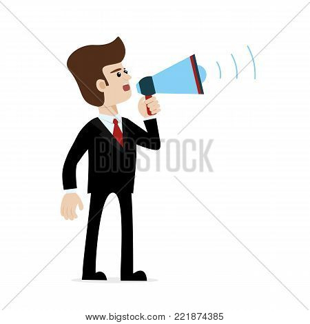 A caucasian businessman in suit shouting with megaphone. Vector art on white isolated background. Illustration for public announcement, advertising, communication, protesting, important message etc.