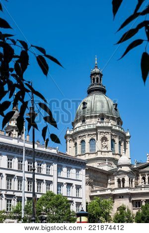 The southern side of the neo-classical St. Stephen's basilica of Budapest in Hungary