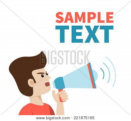 Close view of man shouting with megaphone. Vector art on isolated background with place for text. Illustration for public announcement, advertising, communication, protesting, important message etc.