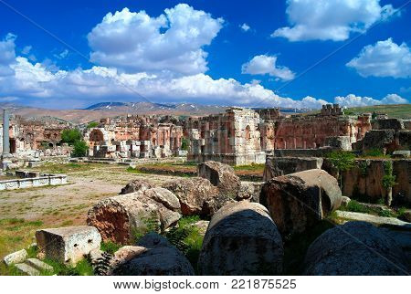 Ruins of Jupiter and Bacchus temples and great court of Heliopolis in Baalbek , Bekaa valley Lebanon