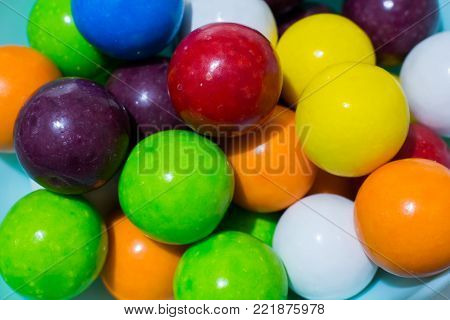 Colored Ball Gums. Fun And Colorful Fruit Flavored Gums