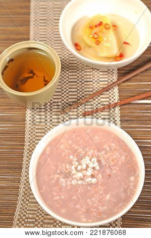 Congee red rice and tea - asia food