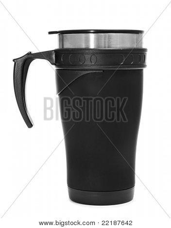 a travel mug on a white background