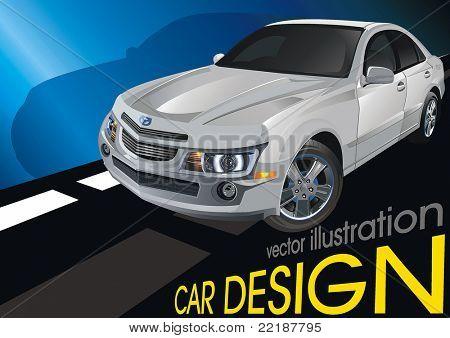 Modern powerful sports Sedan, original car design. Scalable vector illustration art.