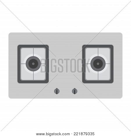 Stove gas top vector kitchen cooking view oven burner isolated. Cooker icon illustration domestic white hob appliance cook