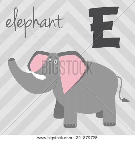 Cute cartoon zoo illustrated alphabet with funny animals: E for Elephant. English alphabet. Learn to read. Isolated Vector illustration.
