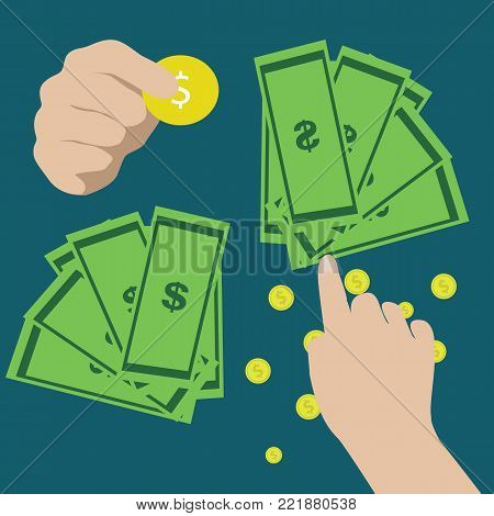 Paying bills, hand holding bills vector.Mobile payment concept. flat vector illustration.Hand holding money