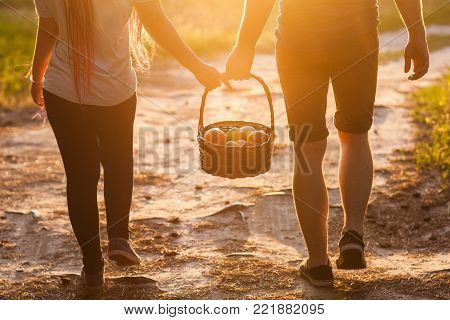 Couple walk informal meadow picnic love concept. Hiker lifestyle. Together on the nature.