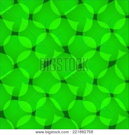 Green Abstract Leaves Seamless Vector Pattern. Green Leaf Repeated Tiles On The Blue Sky Background.