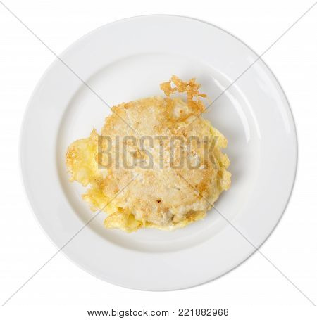 Delicious battered meat chop. Isolated on a white background.