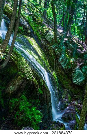 A green Summer view of Buttermilk Falls in Stokes State Forest in New Jersey.