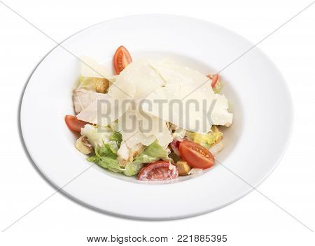 Cesar salad with chicken. Isolated on a white background.