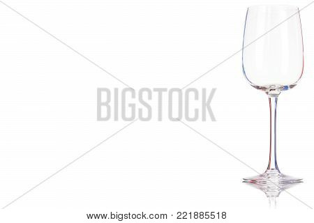 Empty white wine glass isolated on a white background. Place for your text.