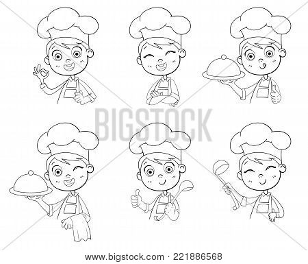 Happy smiling cook. Collection of chef child portraits in different situations.  Monochrome Logo Design template for baby food. Child in cook's cap and with towel, holds ladle. Kid makes gesture okay