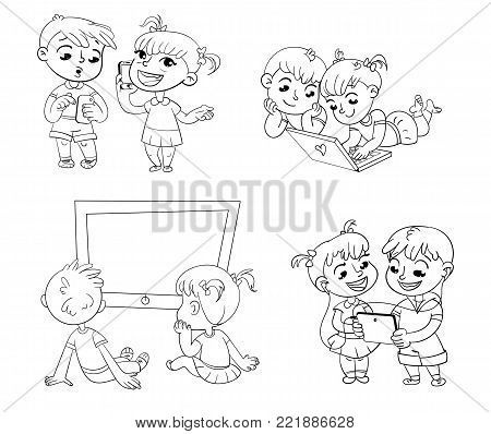 Children and technical progress. Kids talking on the phone. Boy is getting SMS. Children watching TV. Brother and sister with laptop. Children play on tablet. Funny cartoon character. Coloring book