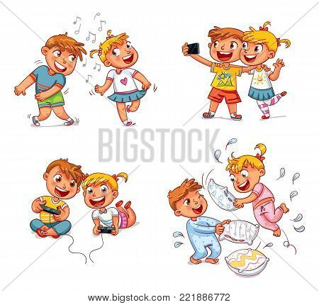 Kids to make self portrait together with mobile device in hand. Boy and girl playing video games. Dancing to music. Brother and sister fight with pillows. Funny cartoon character. Vector illustration