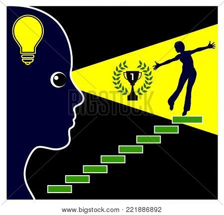 Manifest your dream life. Woman visualizes her goal step by step