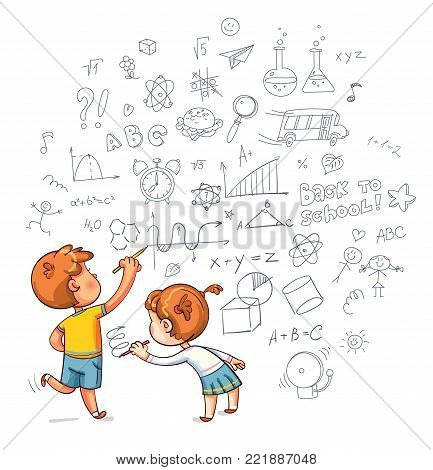 Kids drawing. Boy and Girl draw a doodle on the wall. Draw geometric shapes on a school board. Funny cartoon character. Vector illustration. Isolated on white background