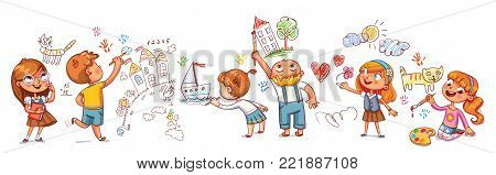 Cute kids paint drawings on the wall. Seamless children's panorama for your design. Template for advertising brochure. Funny cartoon character. Vector illustration. Isolated on white background