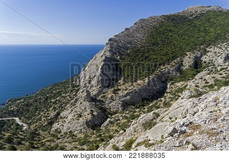 Mountains on the Black Sea coast between Sudak and Novyy Svet, Crimea. A sunny day in early September.