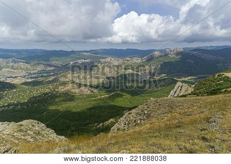 Panorama of the Crimean mountains. View from the top of the Tokluk ridge. Beginning of September.