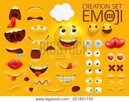 Yellow smiley face emoji character for your scenes template. Emotion big collection. Vector illustration