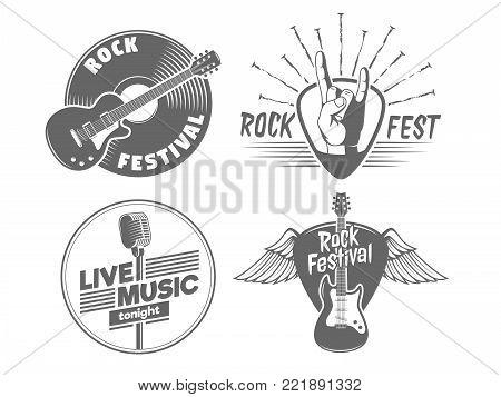 Rock fest badges. Vintage vector logos for rock concert of live music show poster