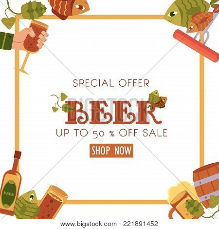 Square beer sale banner, flyer design with mug, glass, bottle, hops, fish, sausages, flat vector illustration isolated on white background. Square sale banner, flyer design with beer related objects